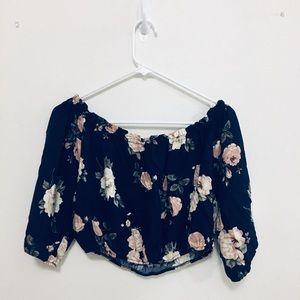 Crop top, long sleeve, navy blue, floral,